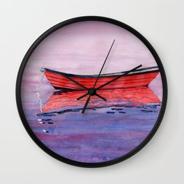 Red Dory Reflections Wall Clock