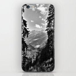 forest panorama kaunertal alps tyrol austria europe black white iPhone Skin