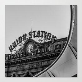 Denver Colorado Union Train Station - BW Square Canvas Print