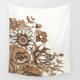 Coffee Art- Flowers Wall Tapestry