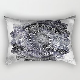 Galaxy Space Mandala (Black and White & Gray Scale) Mystical Adventurous Rectangular Pillow