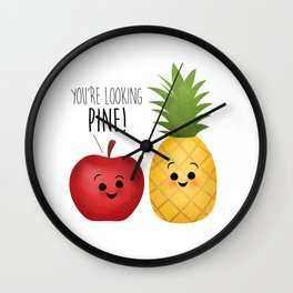 You're Looking Pine! Apple & Pineapple Couple Wall Clock