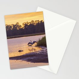 Heron on the River at Sunset Stationery Cards