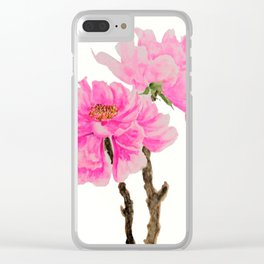 two pink peonies watercolor Clear iPhone Case