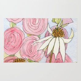 Pink Hollyhock and White Coneflower Garden Flowers Rug