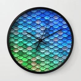 Aqua Teal & Green Shiny Mermaid Glitter Scales Wall Clock