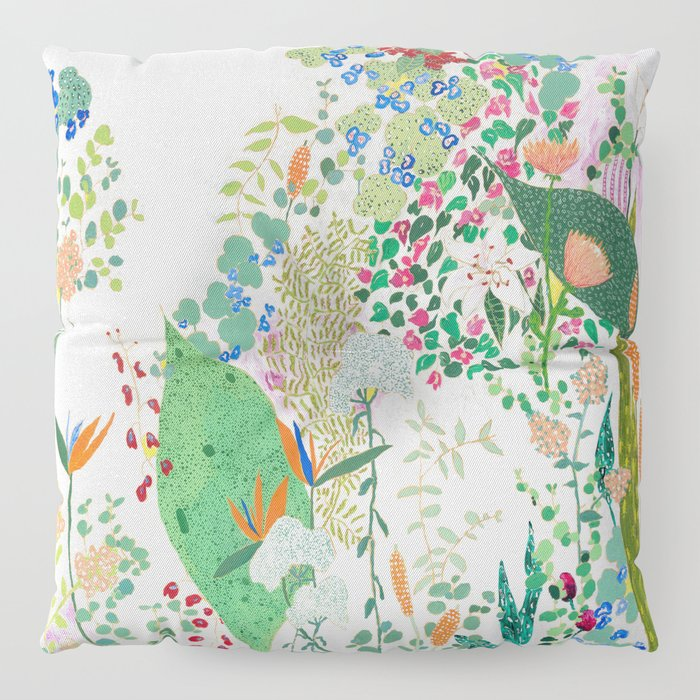 Painterly Floral Jungle on Pink and White Floor Pillow