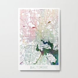 Baltimore Watercolor Map Art by Zouzounio Art Metal Print