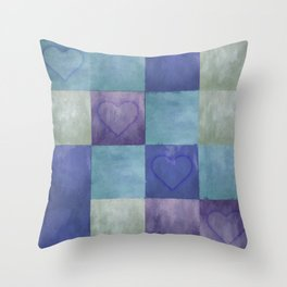 Blue Tiles with Hearts Throw Pillow