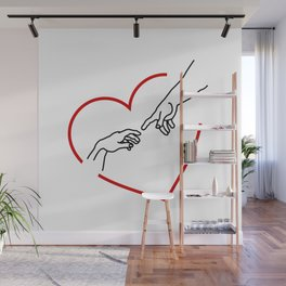 The creation of Adam- The hands of God and Adam within a red heart Wall Mural