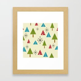 Mid Century Modern Christmas Trees Framed Art Print