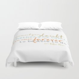 Nostalgic Inspirational Quote Storybook Quote from Peter Pan Duvet Cover