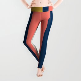 Stacked Blocks, Vertical in Coral, Gold, Gray and Navy Leggings