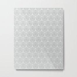 Icosahedron Soft Grey Metal Print