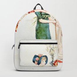 Kate Greenaway - Two Children with Staffs - Digital Remastered Edition Backpack
