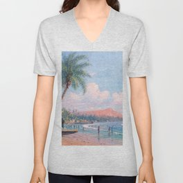 Waikiki Beach, Diamond Head, Oahu landscape painting by D. Howard Hitchcock Unisex V-Neck