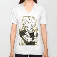 goku V-neck T-shirts featuring GOKU  by DeMoose_Art