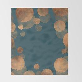 Metal Copper Dots on Emerald Throw Blanket