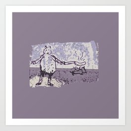 Jessie Frying up a Pan Full of Sausages on the Range Art Print