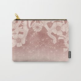 Chic Pink Rose Gold Floral Drawing Glitter Ombre Carry-All Pouch
