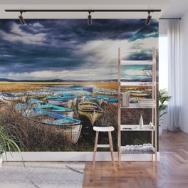 Blue Boats on the Shore Wall Mural