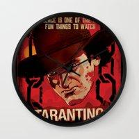 quentin tarantino Wall Clocks featuring TARANTINO Unchained by Jesus De La Mora