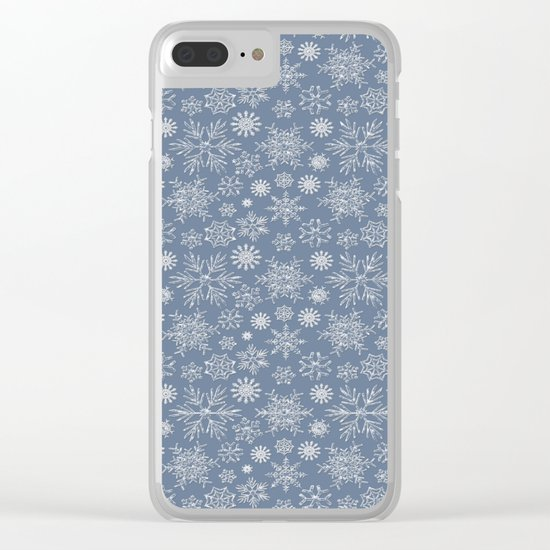 Merry Christmas- Abstract christmas snow star pattern on fresh grey Clear iPhone Case