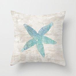 Aqua Starfish Throw Pillow