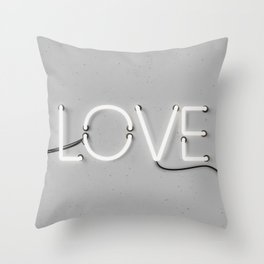 Love Neon Sign in Gray Throw Pillow