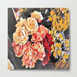 Peaches and Cream Floral Bouquet Metal Print