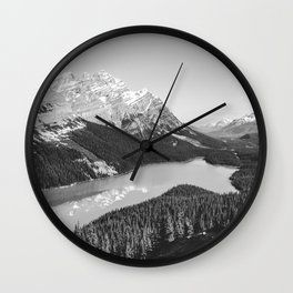 Landscape Photography Peyto Lake | Black and white Wall Clock