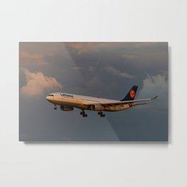 A Lufthansa Plane Peparing For Landing Metal Print