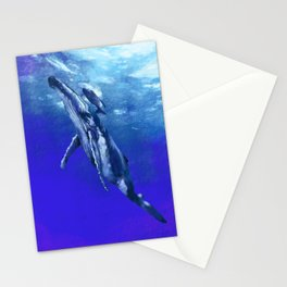 Whale with baby Stationery Cards