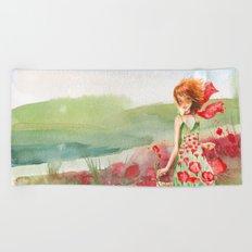 Poppy Girl in Poppies Summer Field Beach Towel