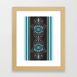 Aqua Double Denim Hamsas Framed Art Print