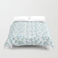 renaissance Duvet Covers featuring Renaissance Celadon by Antique Images