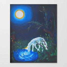 Unicorn and Pond Acrylic Painting Canvas Print