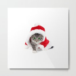 cat santa cute Metal Print