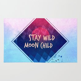 Stay wild moon child - pastel Rug