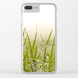 Morning dew on grass field in spring Clear iPhone Case