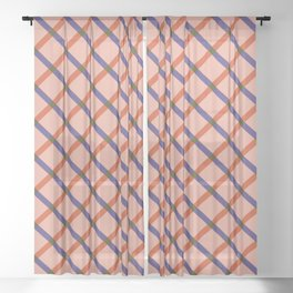 Bright Modern Grid Sheer Curtain