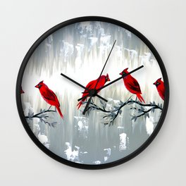 Grey art with REd cardinals Wall Clock
