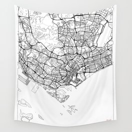 Singapore Map White Wall Tapestry