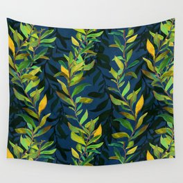 Blue and Green Seaweed Pattern Wall Tapestry