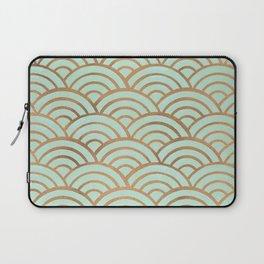 Japanese Seigaiha Wave – Mint & Copper Palette Laptop Sleeve