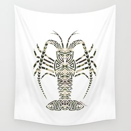 Tribal Camouflage Spiny Lobster on White Wall Tapestry