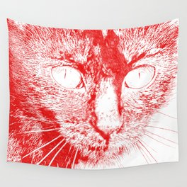Fluffy's eyes drawing, red Wall Tapestry
