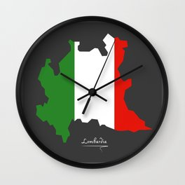 Lombardia map with Italian national flag illustration Wall Clock