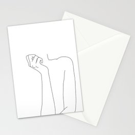 One line woman's body illustration - Corin Stationery Cards