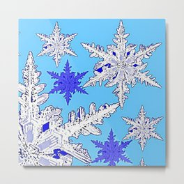 BEAUTIFUL BLUE & WHITE SNOW CRYSTALS  DESIGN Metal Print
